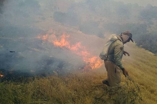 آتش سوزی منطقه حفاظت شده خائیز مهار شد